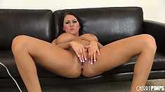Alexis Grace uses a wand to get herself to the edge of cumming