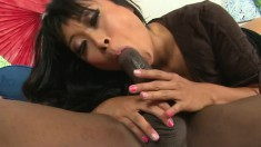 Sexy Asian Yuki Mori cums on his big black cock when he shoots his load